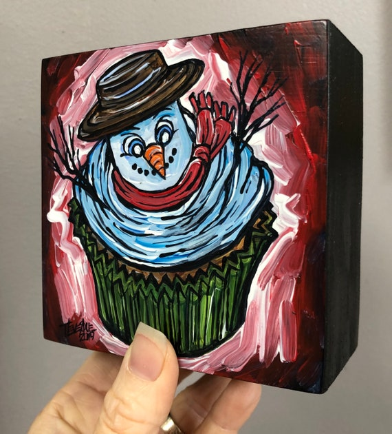 "4x4"" Snowman Cupcake Whimsical Holiday original acrylic painting by Tracy Levesque"