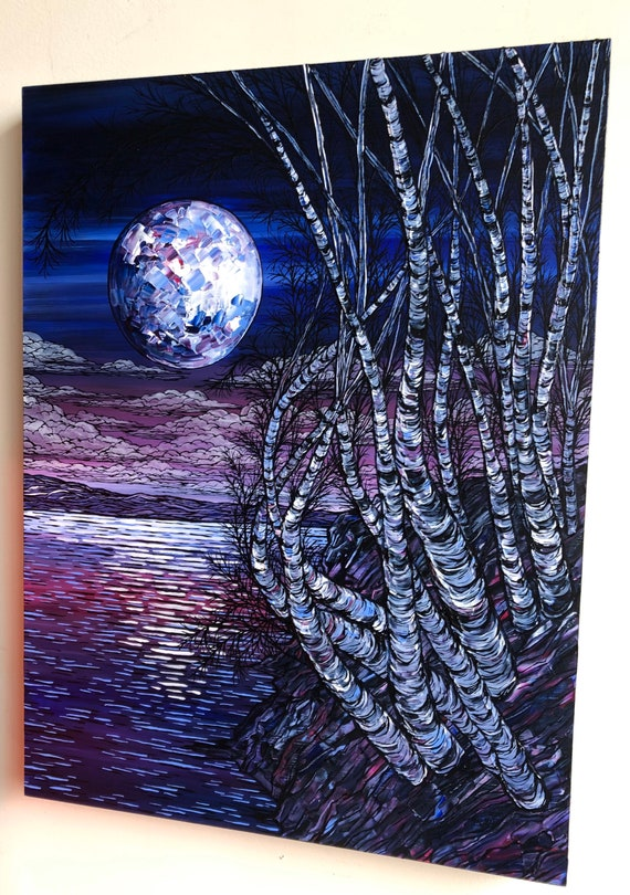 """Birches of the Mountains, 18x24"""" original acrylic painting by Tracy Levesque"""
