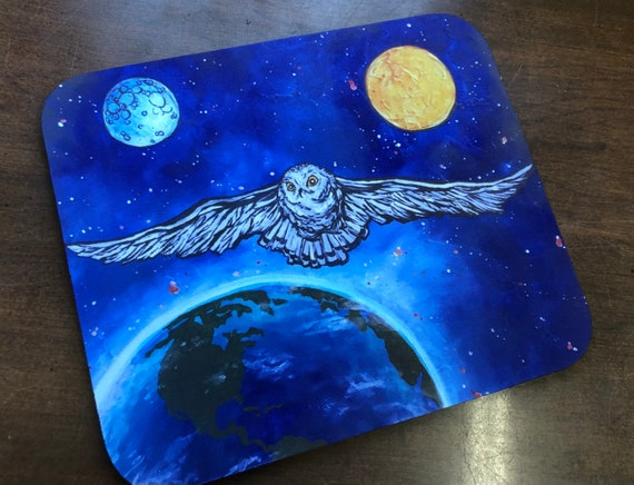 Cosmic Space Owl Snowy Owl Sci-fi Space Mousepad