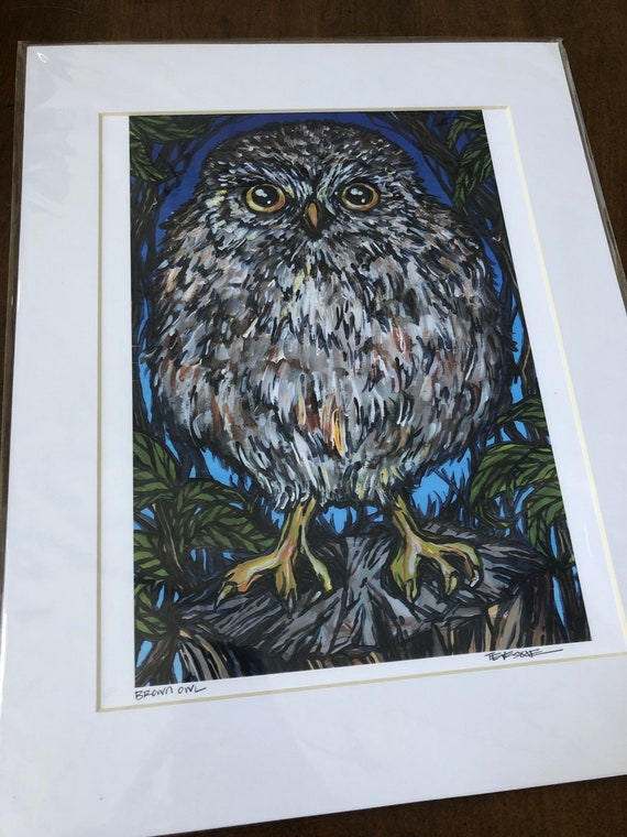 "Brown Owl 11x14"" matted giclee print (print size is approximately 8x10"" inside 11x14"" mat) by Tracy Levesque"