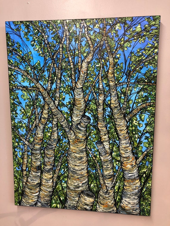 """30x40"""" Birch Tree Trunks original acrylic painting by Tracy Levesque"""