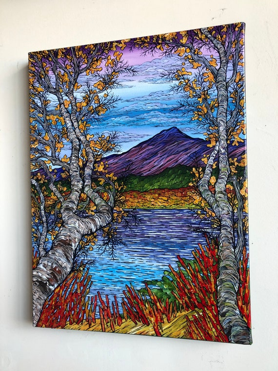 "18x24"" Autumn at Chocorua White Mountains New Hampshire original acrylic painting on canvas by Tracy Levesque"
