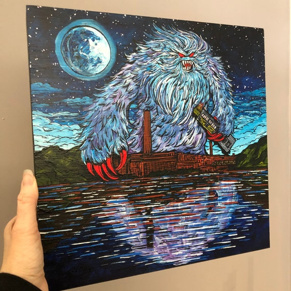 """Yeti Eats Downtown Lowell Owl Diner Lowell Monster 12x12"""" original acrylic painting by Tracy Levesque"""