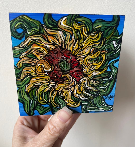 """4x4"""" Sunflower Cerulean original acrylic painting by Tracy Levesque"""