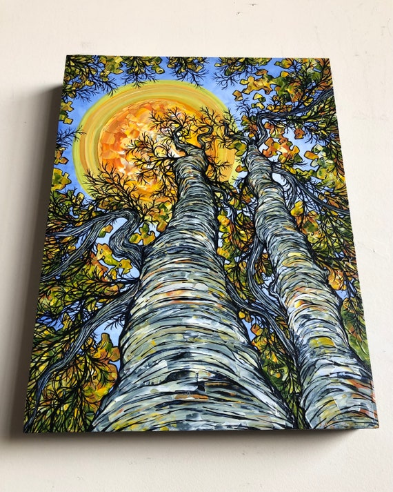 "12x16"" Sunny Day Birches Lovely Fall Trees Looking Up at the Sun original painting by Tracy Levesque"
