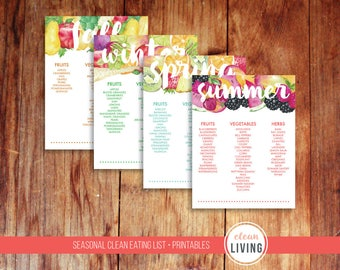 Clean Eating Seasonal List Printable Garden PDF Food Vegetables Fruit Herbs Floral Watercolor Orangization Planner Kitchen Refrigerator
