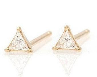 d75b85ba2 Earring Studs Yellow Gold Diamond Diamond Earring Trillion Cut Earring  Women's Earrings Handmade Diamond Studs Unique