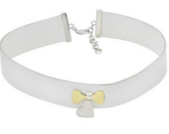 Leather Choker Necklace Silver Heart Charm, White Choker, White Leather, Leather Choker with Charm, White Leather Choker with Heart