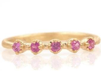 Pink Sapphire Ring Bezel Set 14K, Pink Sapphire Ring, Sapphire Ring,  Golden Sapphire Ring, Sapphire Bezel Ring, Pink Sapphire Ring