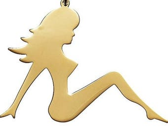 Mudflap Girl Charm Necklace in Sterling Silver, Mudflap Girl Pendant, Mudflap Girl Charm, Mudflap Girl Necklace
