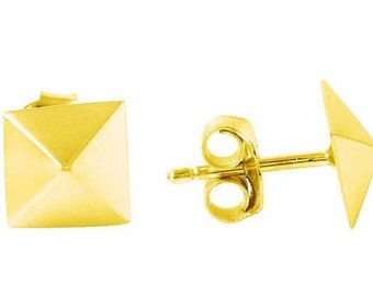 Pyramid Stud Earrings In Gold Vermeil, Pyramid Studs, Pyramid Earrings, Silver Pyramid Stud Earrings