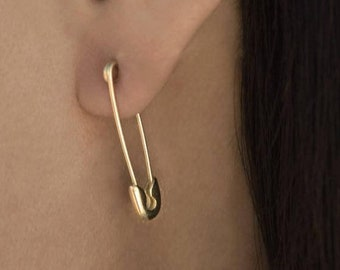 4a413a44164 14k Gold Safety Pin Earring