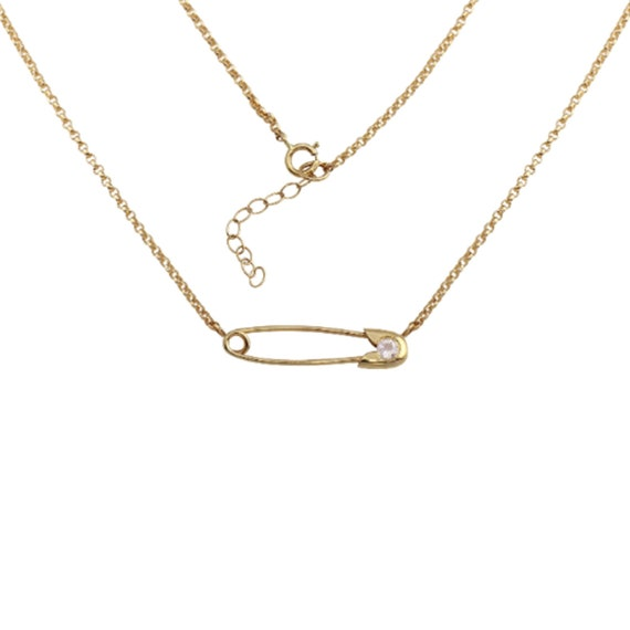Diamond Safety Pin Necklace Gold Diamond Safety Pin Mini Safety Pin Necklace