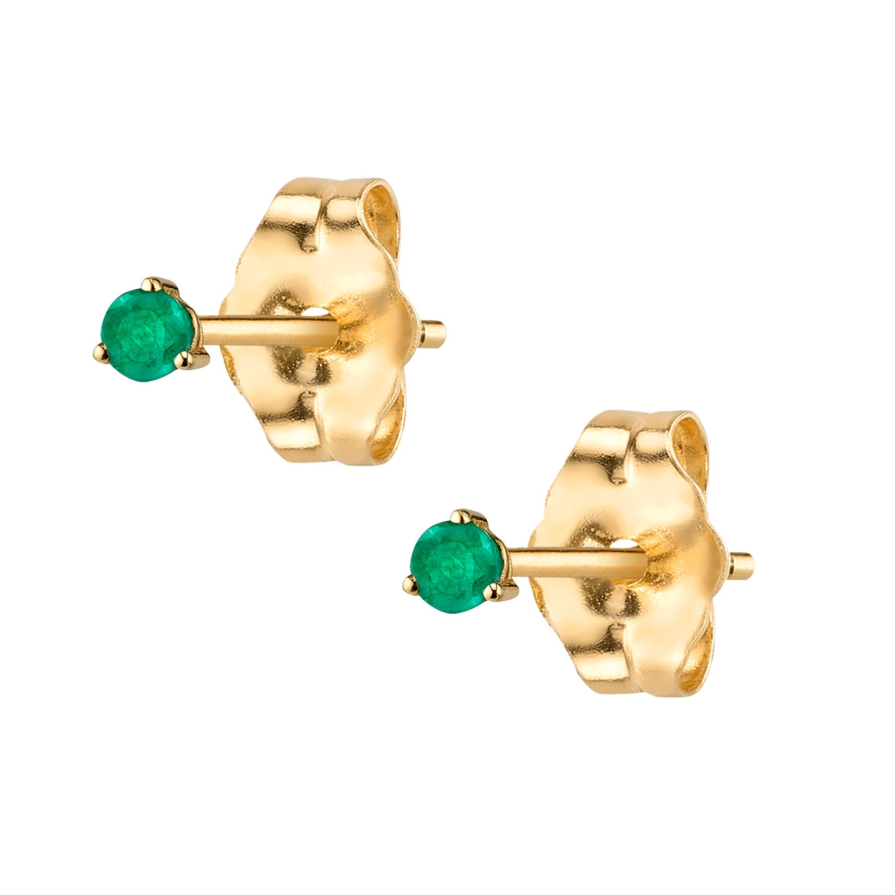 25a4c34a4 14K Gold Emerald Stud Earrings Emerald Studs Gold Emerald   Etsy