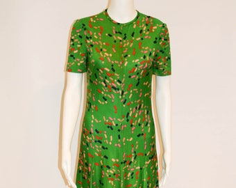 1970s Vintage Tricosa Emerald Green Knit Dress