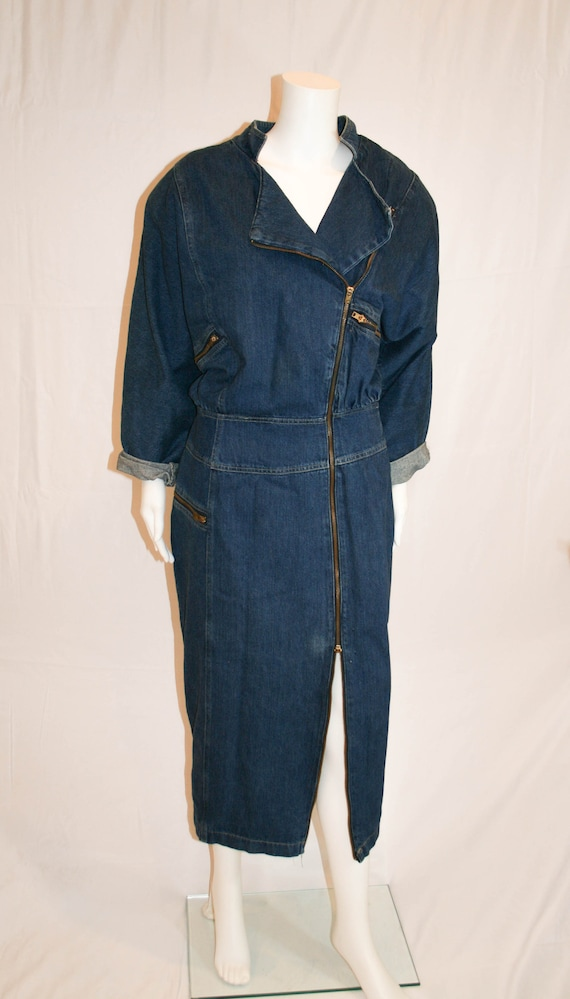 VIntage 1980s Structural Denim Dress by Nina Picca
