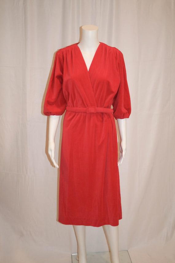 Vintage 1970s Leslie Fay Velour Dress