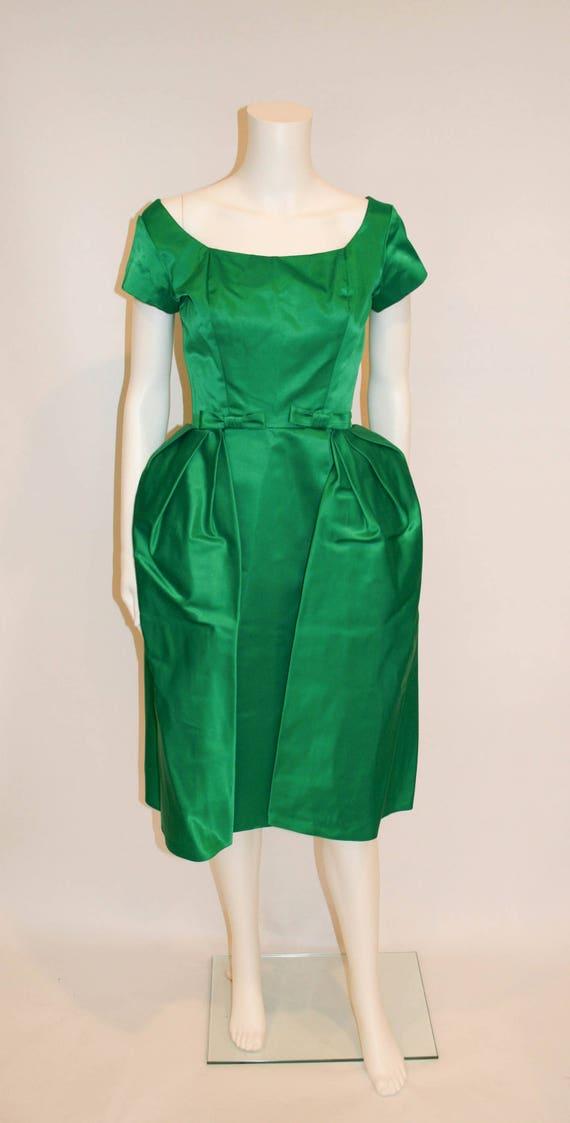 Vintage 1950s Emerald Green Satin Mad Men Evening