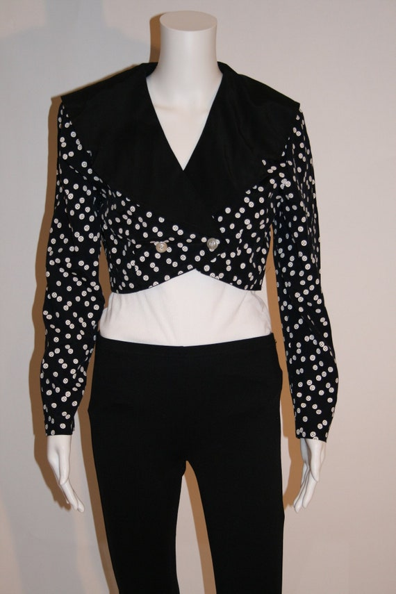 Vintage 80's Black and White Cropped Jacket
