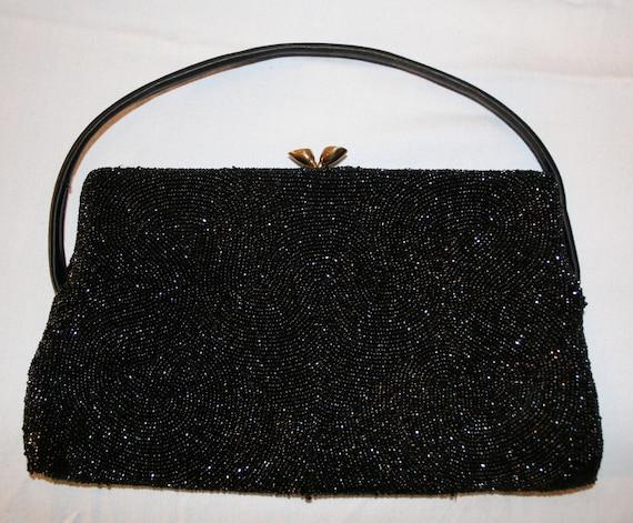 Vintage 1950s Walborg Black Beaded Handbag, Purse,