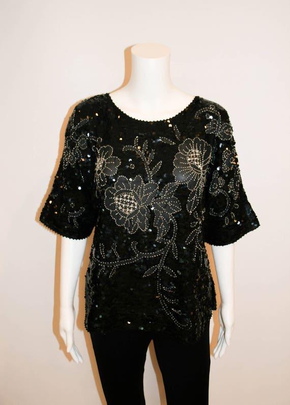 Disco Glam! Vintage Black Sequin Silk Blouse