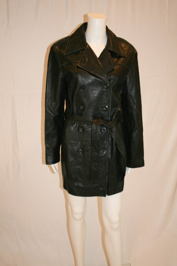 Vintage 1980s  Black Leather Peacoat by Lord and T
