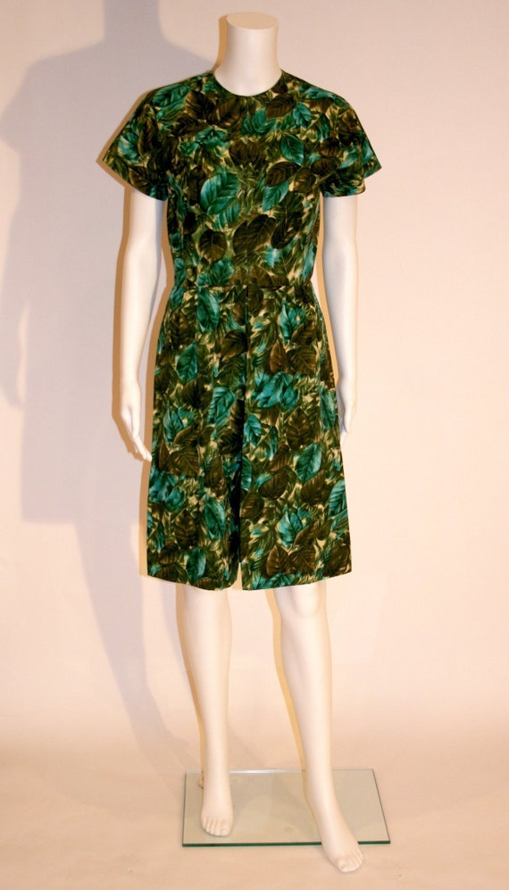Vintage 1960s Tropical Print Dress, Jungle Print