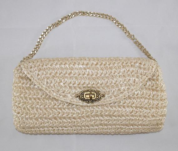 Vintage Cream Raffia Handbag