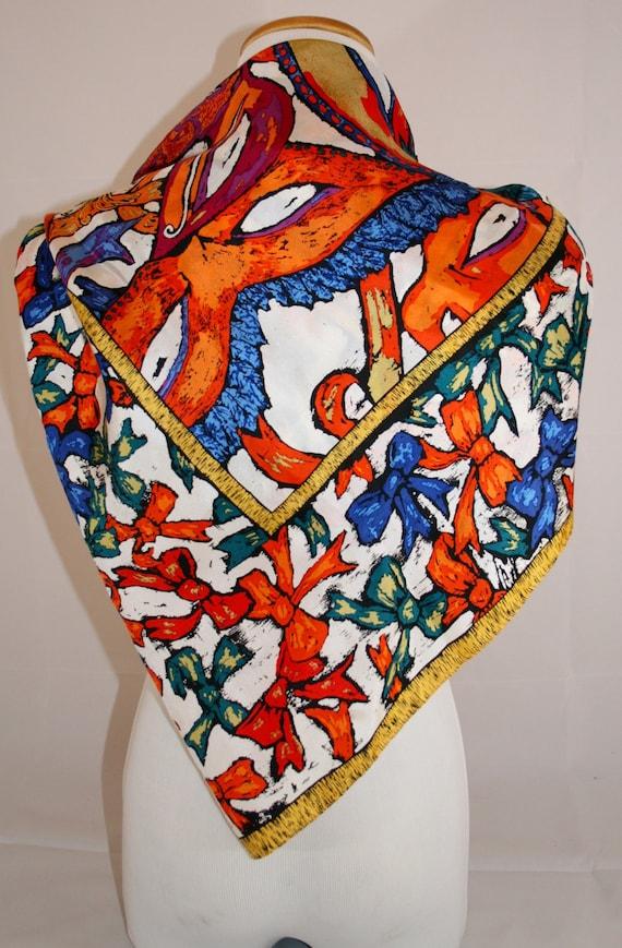 Vintage Perry Ellis Mardi Gras Silk Scarf