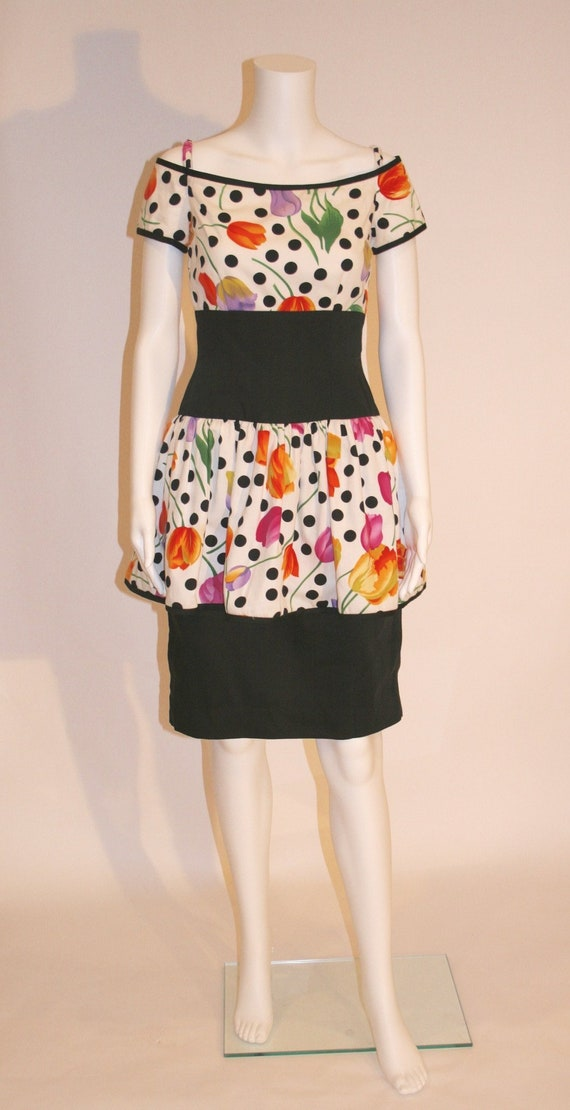 Vintage Floral 80's Peplum Dress by A.J. Bari