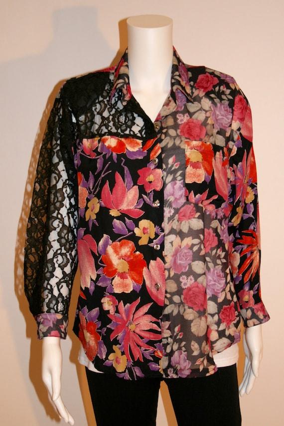 Vintage 80s Floral & Lace Blouse