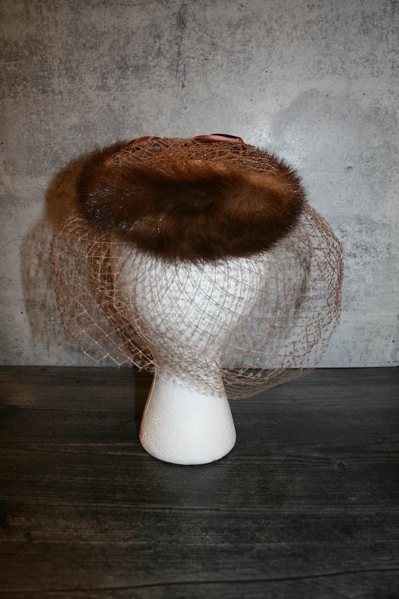 Vintage 1950s  Mink Fur Bird's Nest Fascinator Hat - image 6