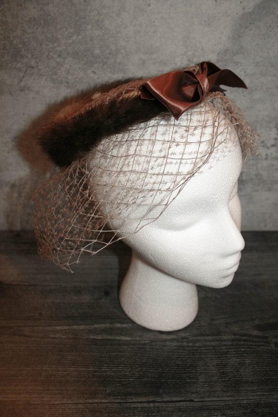 Vintage 1950s  Mink Fur Bird's Nest Fascinator Hat - image 1