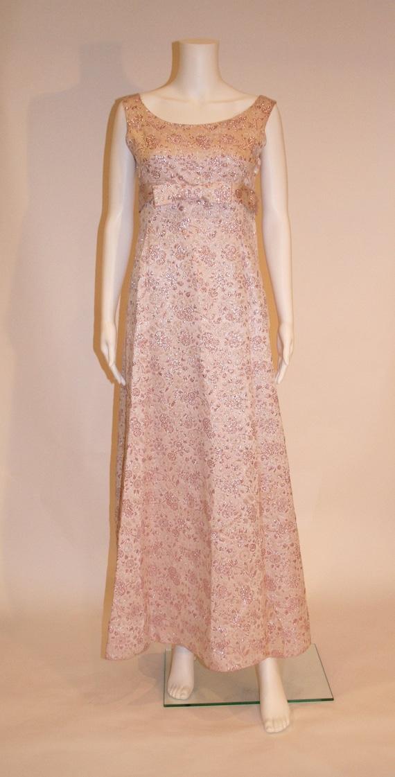 Vintage 1960s Pink Brocade Maxi Dress, Brocade Gow