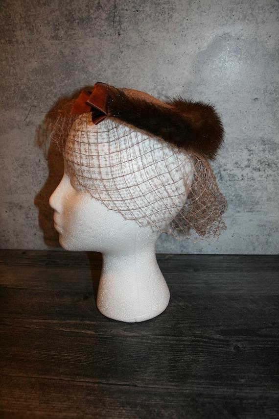 Vintage 1950s  Mink Fur Bird's Nest Fascinator Hat - image 4