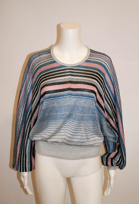 Vintage 1970s Disco Metallic Sweater Top