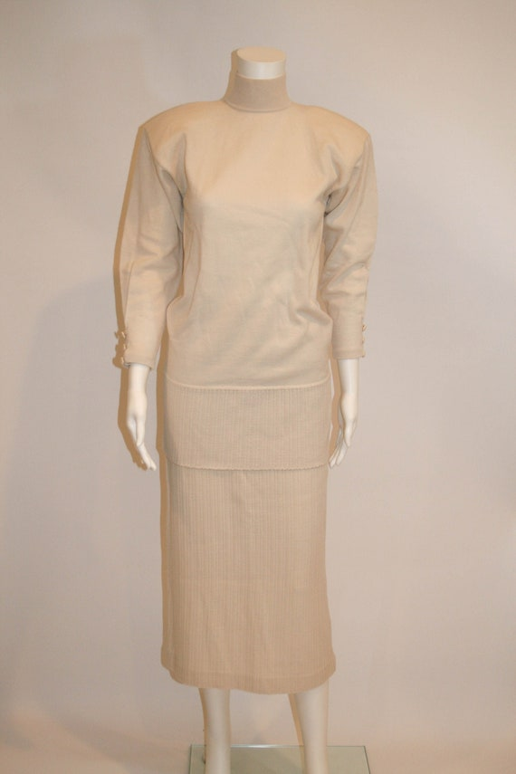 Vintage Goldworm Ivory Wool Knit Skirt and Top