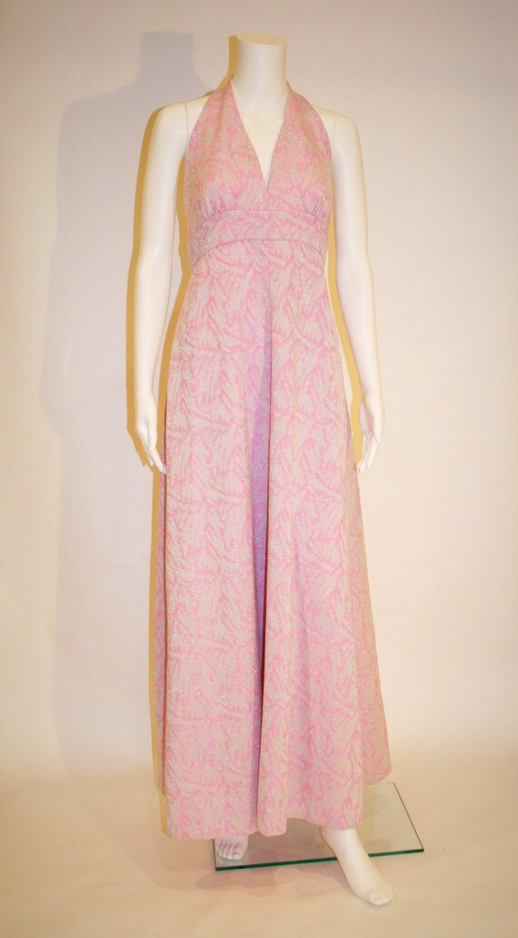 Vintage 1960s Pink and Silver Metallic Maxi