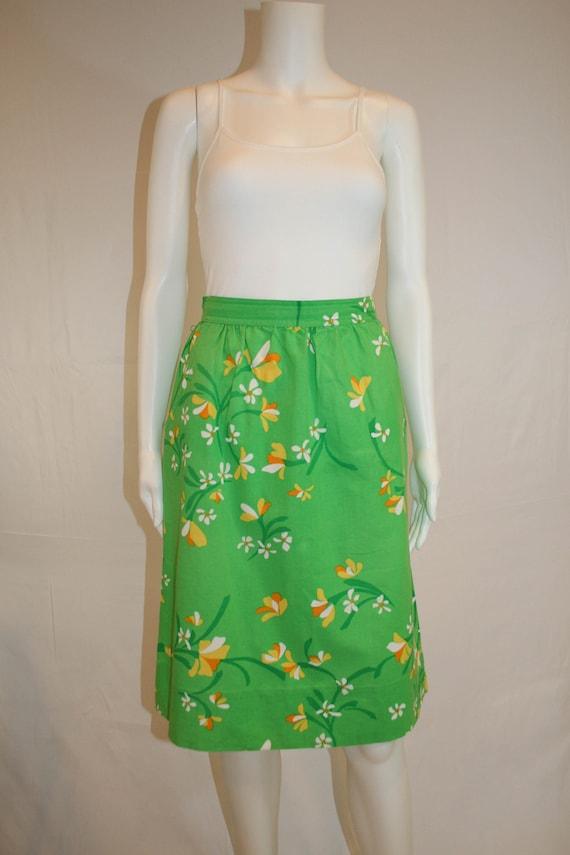 Vintage 1970s Malia Honolulu Floral Skirt