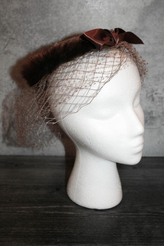 Vintage 1950s  Mink Fur Bird's Nest Fascinator Hat - image 2