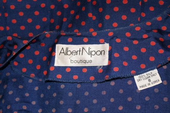 Vintage Albert Nipon Silk Navy with Red Polka Dot… - image 4