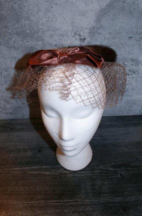 Vintage 1950s  Mink Fur Bird's Nest Fascinator Hat - image 3