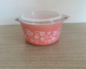 Vintage Pyrex Pink Gooseberry 473 Casserole Dish with Lid