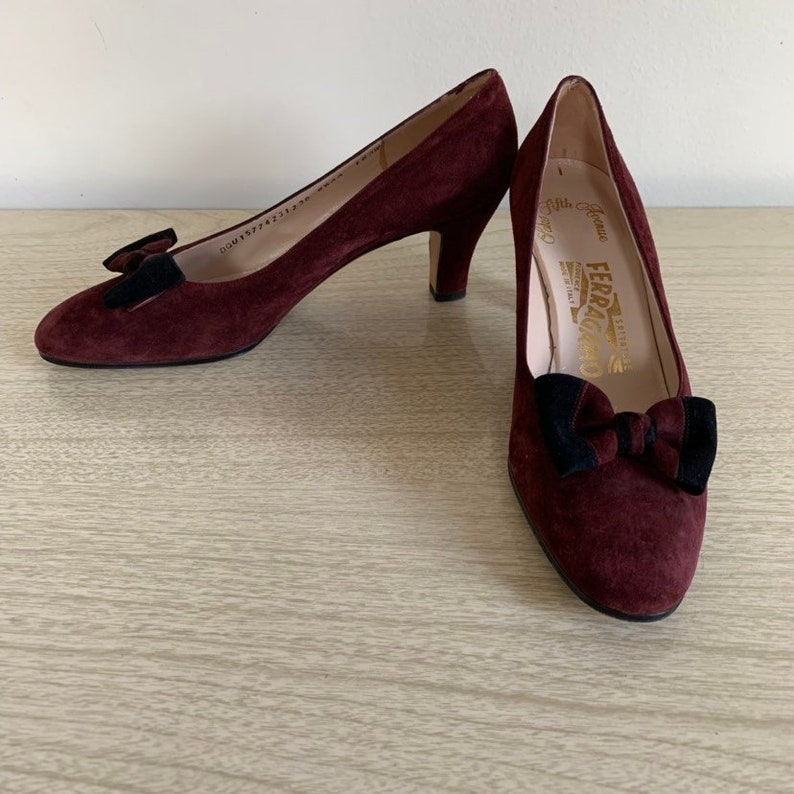 62fbe08976a5d Salvatore Ferragamo 1960s Suede Ruby Red and Black Pumps with Bow, Vintage  Ferragamo Suede Heels Size 8 and a Half , Size 8.5