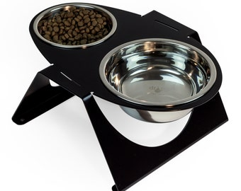 the Egg-i modern pet feeder for small to medium size dog or cat