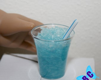 "Blue Ice Slushie | American Girl Doll Sized | Drink Juice Pretend Food 18"" doll"