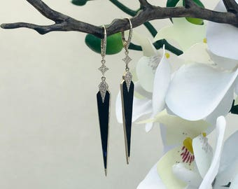 14k Yellow Gold Dagger Dangle Earrings with Diamonds and Black Onyx 210-147