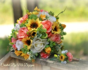 Silk-Real Touch mixed Bridal bouquet and matching Grooms bout