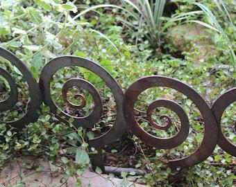 """5.5"""" Alternate Spiral Garden Stake, Steel Garden decor, planter edge, Garden edging"""