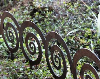"7"" Spiral Garden Stake, Steel Garden decor, planter edge, Garden edging"